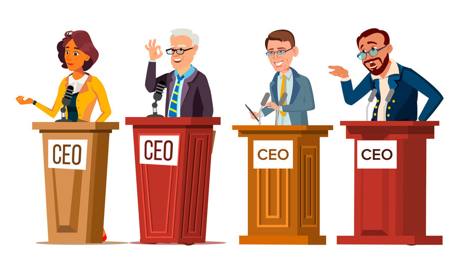 Character Ceo Talking From Tribune Set Vector